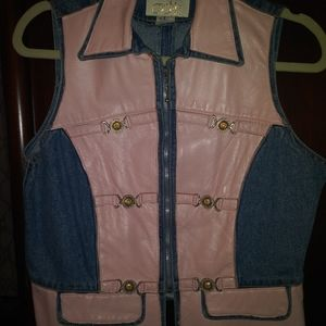 Cache pink leather & denim vest.